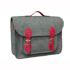 Grey felt for your Macbook with fuchsia leather