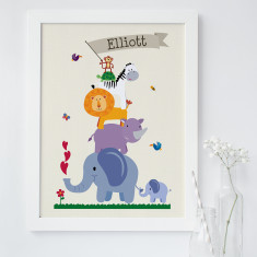 Personalised children's animal nursery art print