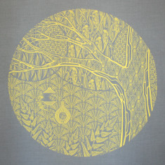 The hidden life, screen-printed fabric art in blue grey and yellow