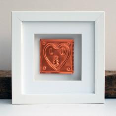Framed Christmas Couple Copper Heart Gift