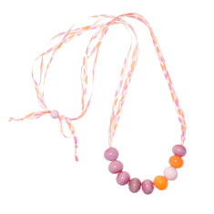 Pink confetti glass necklace with silk