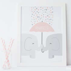 Elephants nursery print