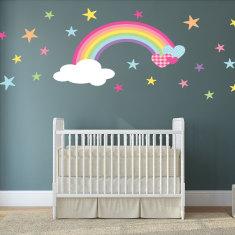Rainbow and hearts fabric wall stickers