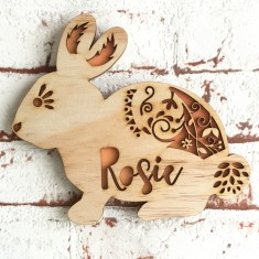 Personalised Easter Rabbit timber wall art