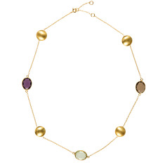 Gemstone and gold necklace with 3 oversized stones