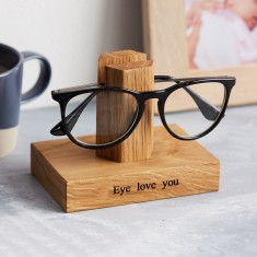MijMoj Solid Oak Personalised Single Glasses Stand