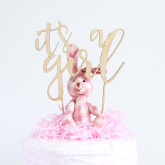 It's a girl - baby shower celebration wood cake topper