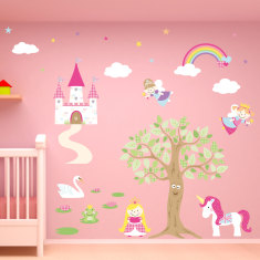 Enchanted fairy princess fabric wall stickers