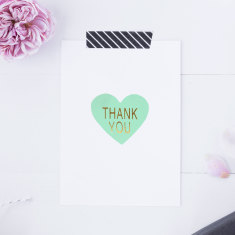 Mint & Gold Foil Thank You Stickers