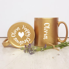 Golden Sparkle Christmas Mug with Name