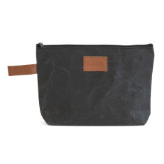 Washable Kraft Paper Clutch in Coal