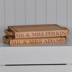 Personalised Rectangular Large Chopping Board (rope handles)