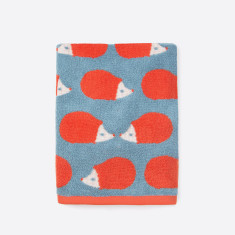 Kissing Hedgehogs Stone Blue Hand Towel & Bath Mat set