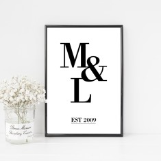 Couple's Initial Monogram Print