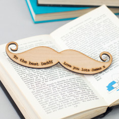 Moustache shaped personalised bookmark