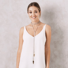 Bolo Necklace with Feather