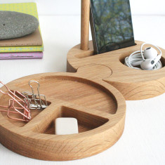 Round Interlocking Solid Oak Desk Tidy