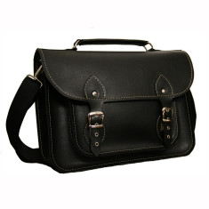 Black ecoleather laptop bag, messenger bag for work or school