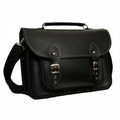 Black ecoleather laptop bag, messenger bag for work or school