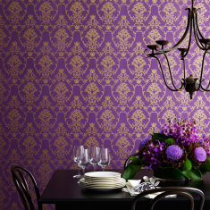Flannel flower damask wallpaper in gold on purple