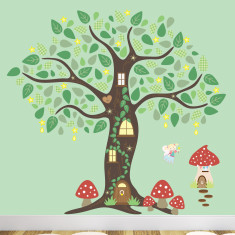 Fairy folk enchanted tree fabric wall stickers