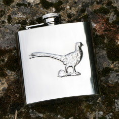 Personalised stainless steel pheasant hip flask