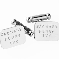 Henry personalised sterling silver cufflinks
