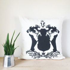 Dachshund Silhouette Coat of Arms Linen Cushion