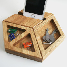 Solid oak modular hexagon desk tidy