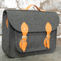 Dark grey felt laptop bag/satchel with orange straps