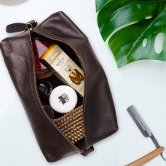 Leather wash bag (mahogany)