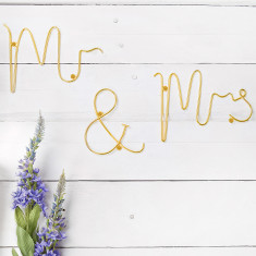 Gold Wire Mr & Mrs Words