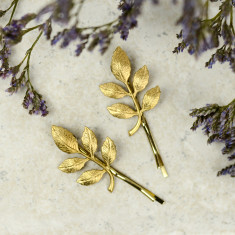 Golden Sprig Hair Grips