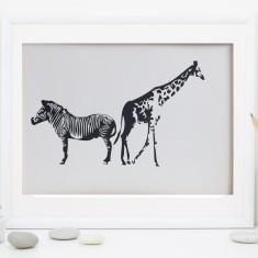 Giraffe & Zebras Fine Art Print