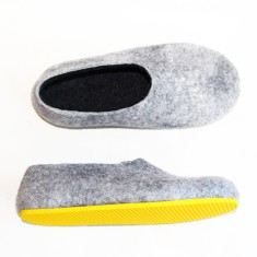 Women's wool felted slippers in grey marle (various sole colours)