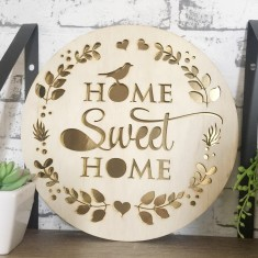 Home sweet home plywood/gold wall hanging