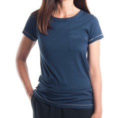 Cap Sleeve Pocket Tee in Vintage Navy