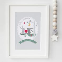 Love you to the moon woodland nursery print