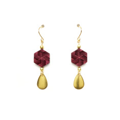 Hexagon & brass teardrop earring