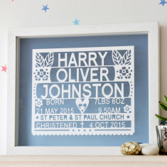 Personalised Christening Or Baptism Gift Papercut