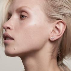 Crescent moon stud earrings 18k rose gold