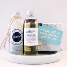 Luxury Bath & Body Gift Set - Sleepy Elixir Mineral Soak with Rose Bath & Body Oil