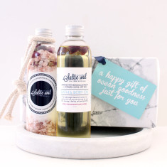 Luxury Bath & Body Gift Set - Summer Skin Mineral Soak with Rose Bath & Body Oil