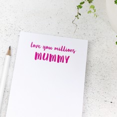 Personalised 'Love You Millions' notepad