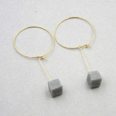 Grey marble Cube Hoop Earrings