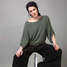Plus size model batwing top