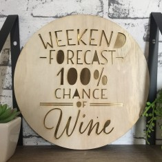 Weekend wine forecast - plywood/gold wall hanging