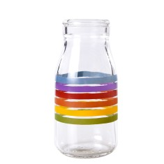 Printed mini milk bottles in rainbow design (4 bottles)