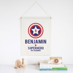 Superhero in training personalised wall banner