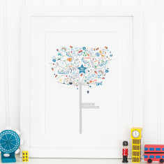 Personalised Baby Boy Happiness Tree Print